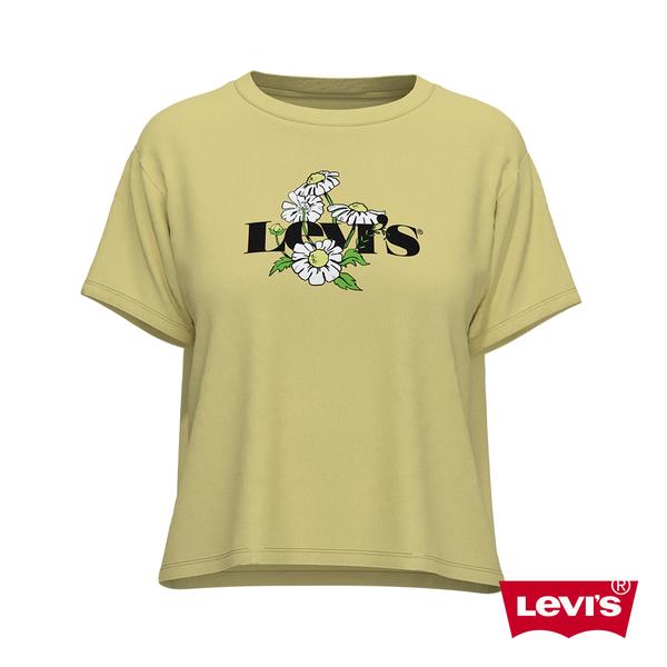 Levis 女款 短袖學院T恤 / 中短版方正寬袖版型 / 雛菊復古Logo
