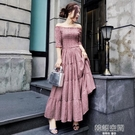 一字肩碎花洋裝女名媛氣質修身顯瘦高腰A字長裙子 韓語空間