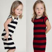 新年好禮 女童連身裙春 BBW同款條紋半身裙純棉針織裙子ins寶寶洋氣公主裙