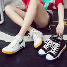 帆布鞋 厚底 ins女高筒秋季新款學生韓版2019百搭內增高ulzzang平底板鞋