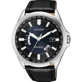 CITIZEN 星辰 光動能萬年曆電波錶-藍x黑皮帶/43mm CB0180-11L
