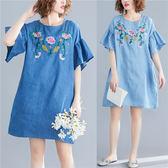 花兔子服飾荷葉袖刺繡花卉牛仔洋裝