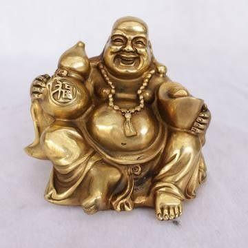 開光黃銅和氣生財彌勒佛擺件