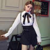 精選38折 韓國學院風蝴蝶結襯衣不規則背帶裙兩件套裝長袖裙裝