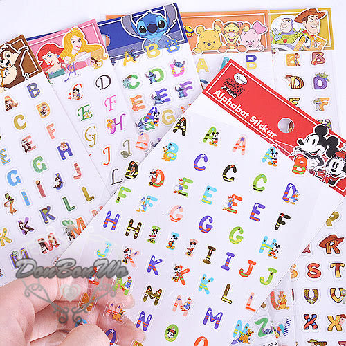 迪士尼公主系列玩具總動員維尼米奇米妮奇蒂史迪奇英文款貼紙700534
