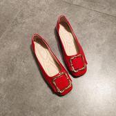 夏平底方頭單鞋女淺口方扣平跟豆豆鞋軟底舒適工作鞋黑色職業上班 zr1252『miss洛羽』