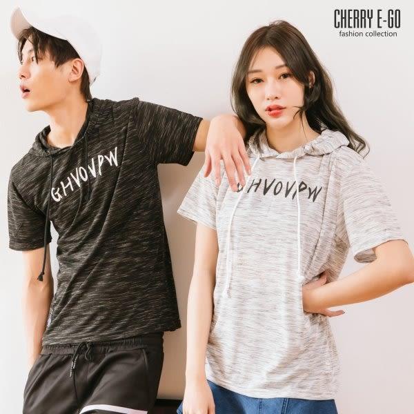 Cherry e購【K1975】春夏潮男/情侶,韓版雪花印花連帽短袖T_2色