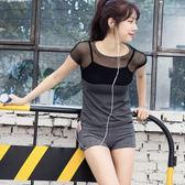 瑜珈服套裝(兩件套)-夏季鏤空網紗拼接女運動服73oc20[時尚巴黎]