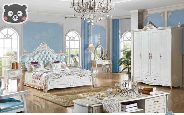 【大熊傢俱】1C 1106 法式 雙人床 床台 皮床 五尺床 床架 歐式 韓式 新古典 另售化妝台 床頭櫃
