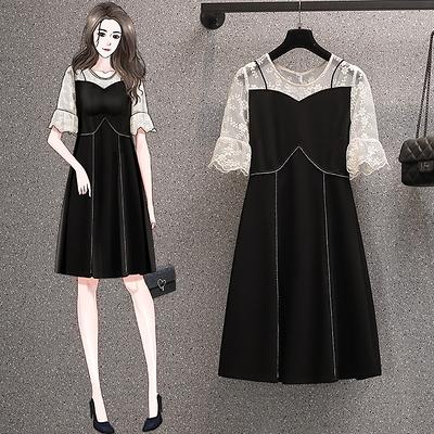 洋裝連身裙中大尺碼胖妹妹時尚顯瘦蕾絲花邊鉆石拼接連身裙3F099.胖丫