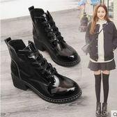 短靴鞋子女正韓學生粗跟馬丁靴女英倫風短靴高跟鞋女鞋冬 米蘭潮鞋館