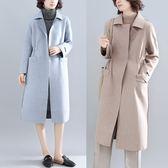純色鬆緊收腰毛呢外套 秋冬新款時尚韓版純色雙面呢中長款呢子大衣 週年慶降價