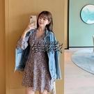 秋冬新款韓版女裝法式浪漫長袖碎花V領洋裝度假裙子女 街頭布衣