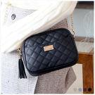 斜背包-菱紋車縫流蘇拉環鏈條小包-共4色-A17172166-天藍小舖