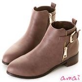 amai皮帶釦飾金屬拉鏈造型短靴 藕