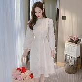 洋裝連身裙甜美S-2XL新款立領韓範洋氣收腰顯瘦中長款連身裙T613-1119.胖胖唯依