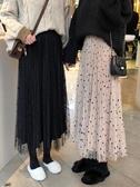 波點網紗半身裙秋冬季溫柔風長裙子百摺裙中長款仙女紗裙chic秋裝 限時熱賣