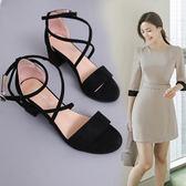 綁帶涼鞋夏季新款歐洲站綁帶羅馬女粗跟高跟露趾性感包跟女式涼鞋 mc8320『東京衣社』
