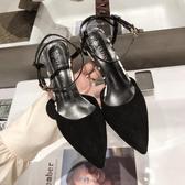 網紅 涼鞋女高跟鞋夏季  新款 韓版百搭黑色包頭一字扣帶細跟 涼鞋 鉅惠85折