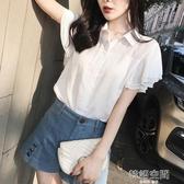 雪紡襯衫女夏裝2019年新款職業短袖襯衣女仙女范設計感很仙的上衣  韓語空間