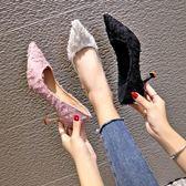2019新款春季高跟鞋女細跟粉色尖頭小清新少女貓跟百搭網紅女鞋子QM 莉卡嚴選