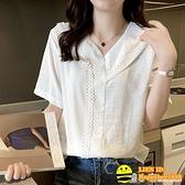 短袖花邊鏤空女襯衫2021年夏季韓版新款v領時尚上衣洋氣棉麻小衫 happybee