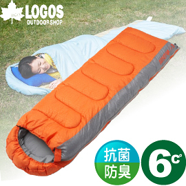 【LOGOS 日本 LOGOS 6度 抗菌防臭丸洗睡袋 橙】72600880/化纖睡袋/睡袋/登山/露營睡袋