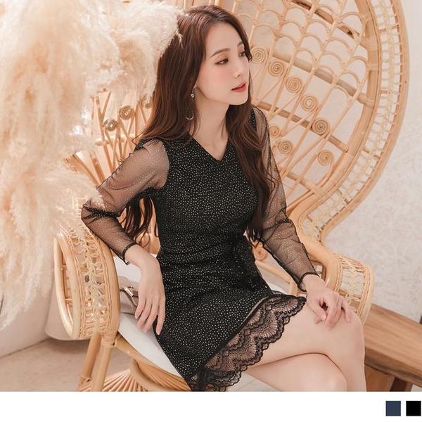 《DA8091》韓版透膚燙金網紗裙襬拼接蕾絲附綁帶洋裝 OrangeBear