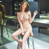 春季新款夜店性感夜場女裝低胸V領氣質名媛高腰包臀連衣短裙艾美時尚衣櫥