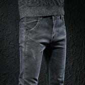 春夏季灰色牛仔褲男士青年休閒長褲子男韓版修身小腳彈力潮牌男褲