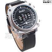 Click 飛機儀表板 創意 造型 腕錶 創新風格 趣味 皮帶 銀色 男錶 CL-713B-SVBK-R