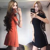 夏裝韓版時尚名媛氣質新款拼色綁帶修身圓領短袖收腰洋裝女 卡布奇诺