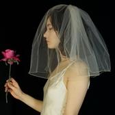 髮飾 新娘頭紗韓式雙層素紗遮面短款婚紗頭紗旅拍面紗簡約蓬蓬婚禮頭飾 城市科技