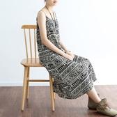洋裝-長款寬版復古圖騰民族風細肩帶女連身裙73sm4【巴黎精品】