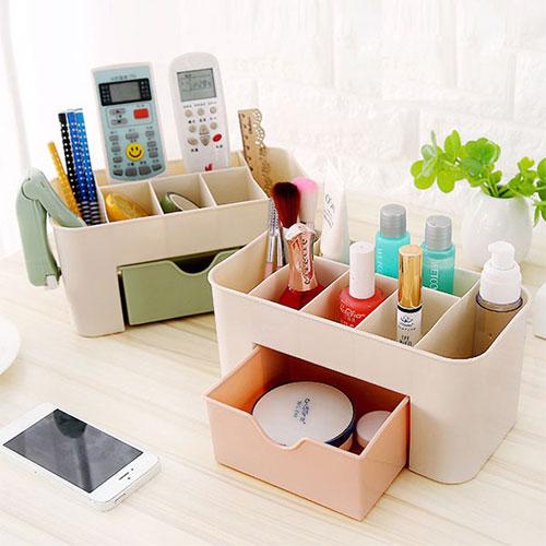 抽屜式化妝品收納盒 化妝品整理盒 桌面文具首飾保養品分格收納盒