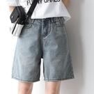 2021夏季新款復古牛仔短褲女寬鬆直筒百搭BF風五分褲寬管中褲韓版