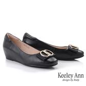Keeley Ann極簡魅力 氣質知性方頭內增高包鞋(黑色)