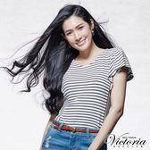 Victoria 荷葉袖條紋拼接短袖T-女-白底黑條