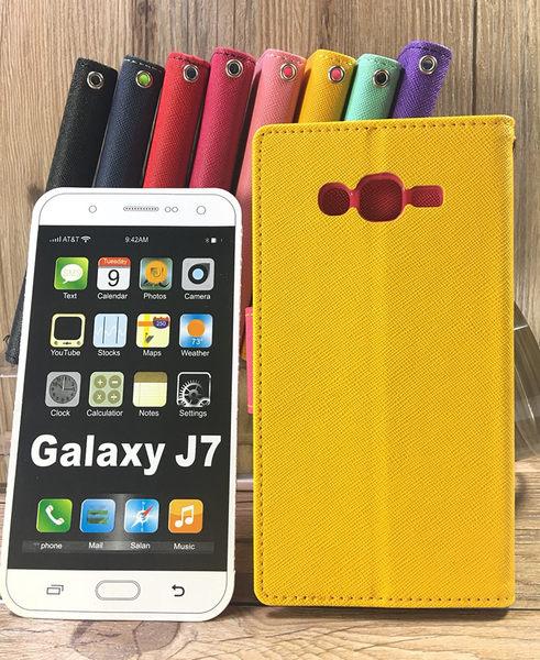 ◎福利品側翻皮套 SAMSUNG Galaxy J7 / S6 G9208 撞色皮套 可立式 插卡 保護套 手機套