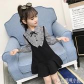 女童洋裝春裝 新款兒童假兩件格子裙學生中大童裝韓版長袖裙 安妮塔小鋪