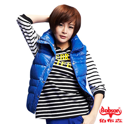 【BOBSON】女款絲棉背心(藍54)