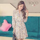 東京著衣【YOCO】微甜可人V領開釦碎花七分袖洋裝-S.M.L(180607)