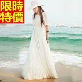 長洋裝-波希米亞風純白優雅公主袖蕾絲雪紡連身裙65af5[巴黎精品]