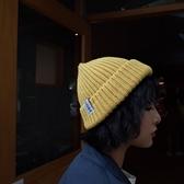 日系百搭休閒毛線貼布瓜皮帽 男女 針織帽保暖護耳毛線帽子風尚3C