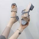 粗跟高跟鞋 涼鞋女夏季2021年新款女鞋仙女風網紅百搭涼拖鞋中跟粗跟高跟鞋女 小衣里