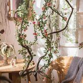 攝影道具 掬涵 安格斯纏繞玫瑰藤蔓 仿真花藤月薔薇 墻面垂吊花藝造景裝 星河光年DF