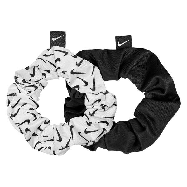 Nike 髮帶 Gathered Hair Ties 黑 白 女款 鬆緊帶 運動 健身 【ACS】 N100245509-1OS