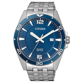 【台南 時代鐘錶 CITIZEN】星辰 強悍運動風格時尚腕錶 BI5058-52L 藍/銀 43mm