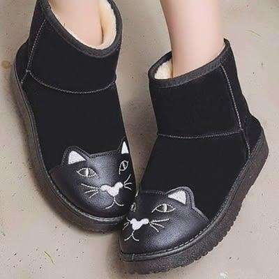 中筒雪靴-時尚可愛貓咪保暖女厚底靴子3色73kg39[巴黎精品]