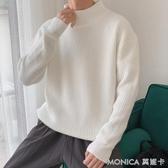 半高領毛衣男厚款秋冬季韓版潮流個性ins港風寬鬆加絨加厚針織衫 莫妮卡小屋